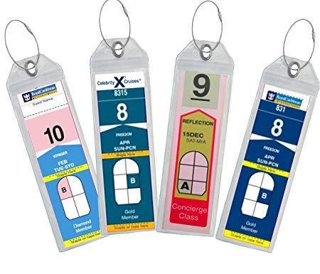Cruise luggage tag holder zip seal & steel - royal caribbean