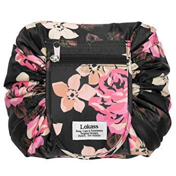 Drawstring cosmetic bag lazy travel makeup bag floral make
