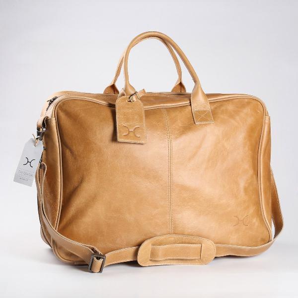 Thandana business executive leather travel bag - hazelnut