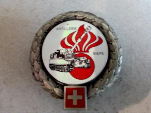 Swiss army artillery training school beret badge, biere