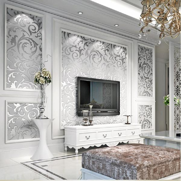 3D Silver Victorian Wall Sticker Damask Embossed Rolls