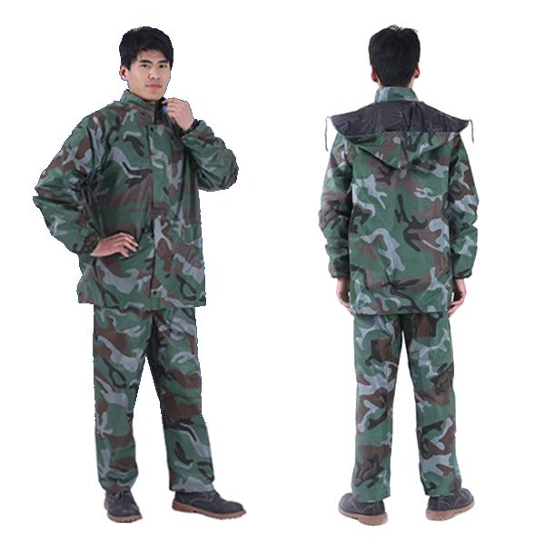 Camouflage adult raincoat suit poncho motorcycle hiking