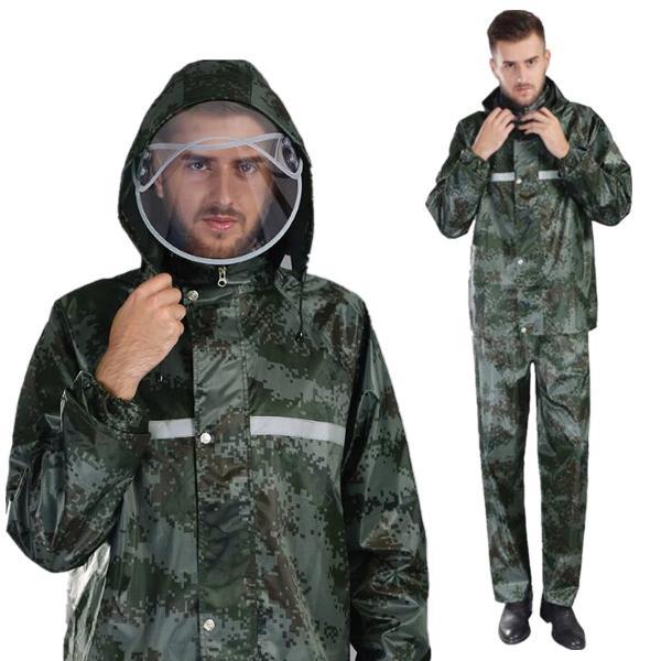 Camouflage raincoat camping vandret motorcykel med vandtt