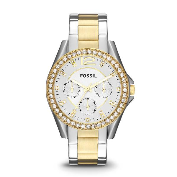 Fossil women's riley stainless steel chronograph glitz