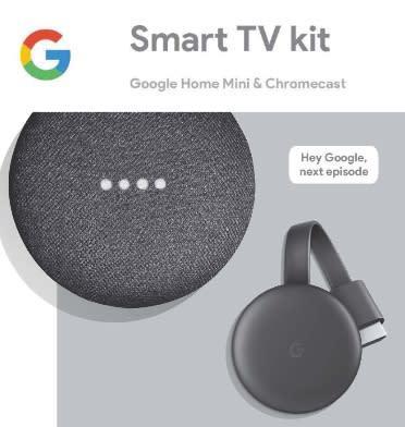 Google smart tv kit (home mini & chromecast) charcoal |