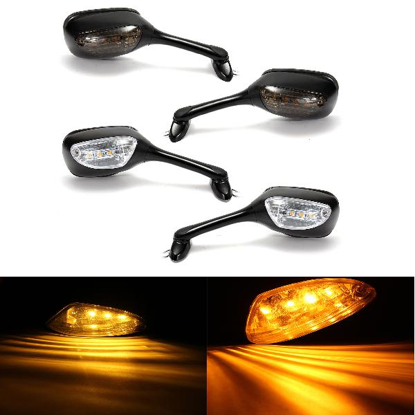 Pair led turn signal rear view mirrors for suzuki gsxr600