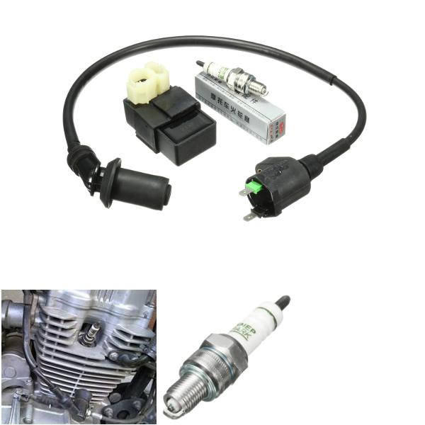 Scooter atv ignition coil ac cdi box spark plug for gy6 50cc