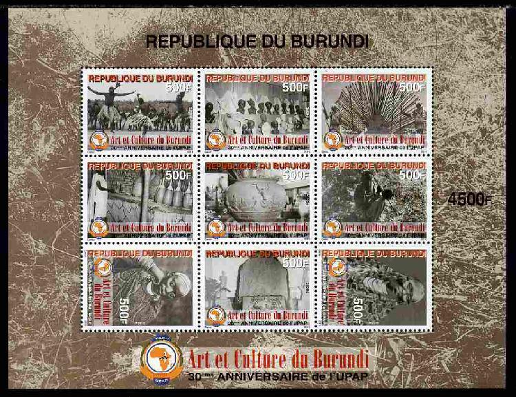 Burundi 2011 Art & Culture perf sheetlet containing 9 values
