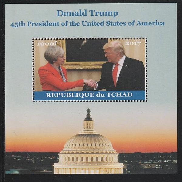 Chad 2017 Donald Trump #1 perf s/sheet containing 1 value