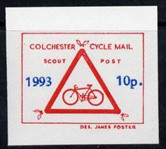 Cinderella - great britain 1993 colchester cycle mail scout