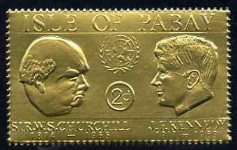 Pabay 1967 Churchill & Kennedy 2d value embossed in gold