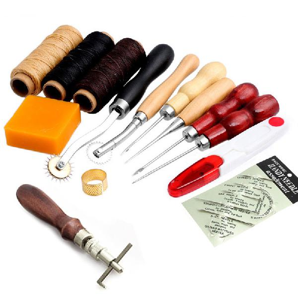 14pcs leather craft hand stitching sewing tool thread awl