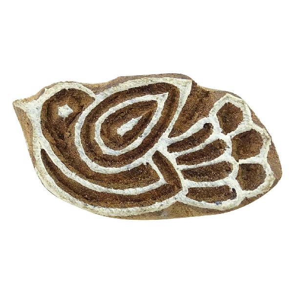 Bird indian wood block art handcarved printing block textile