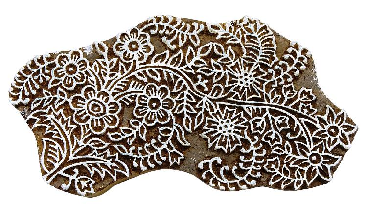 Hand carved wooden textile stamp block printing floral