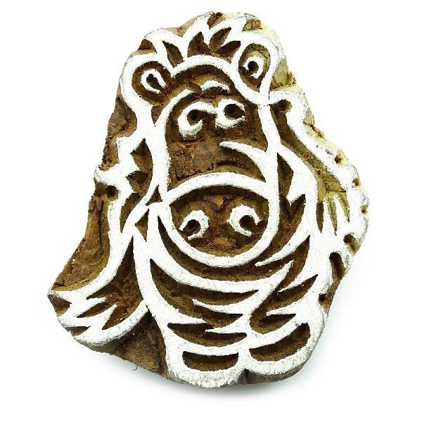 Printing block hippopotamus handcarved wood block texile