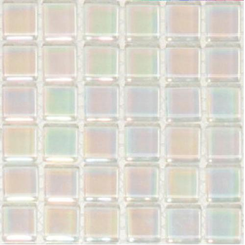 Reflective crystal glass mosaic tiles 15 x 15 - pearl white