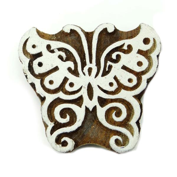 Wood block art butterfly decorative handcarved textile