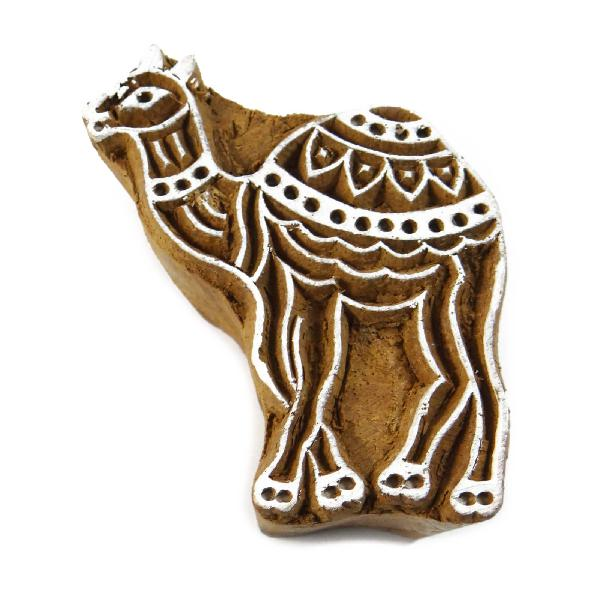 Wood stamps hand craved animal printing block textile stamp