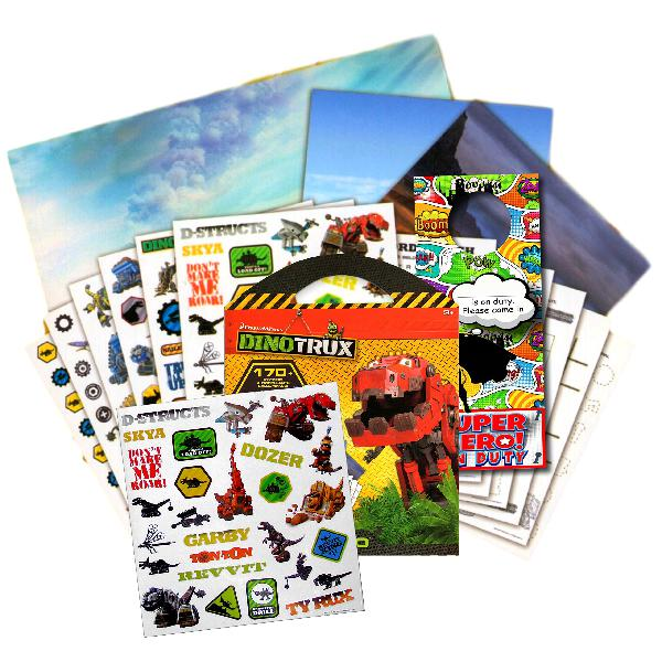 Dinotrux stickers travel activity set bundle with stickers,