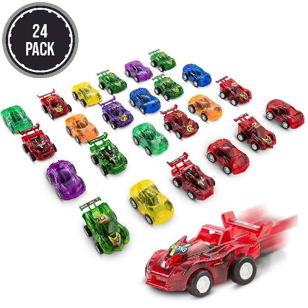 Favonir pull back friction cars, 24 mini assorted race car