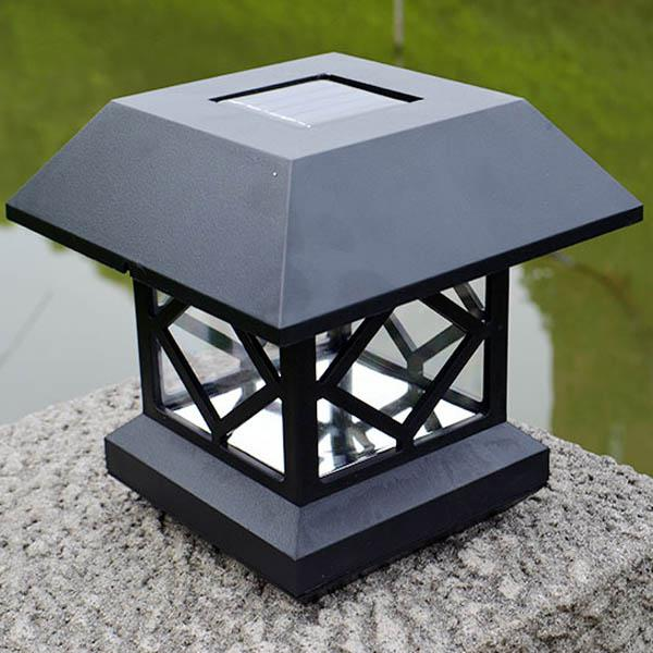 1.2v garden lawn solar white led pillar lamp outdoor cottage