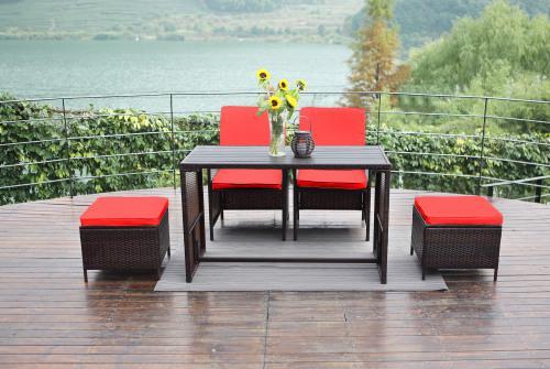 Hazlo novara 5 piece patio wicker pe rattan cube garden