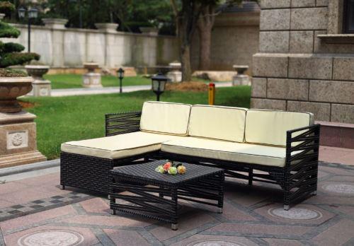Hazlo vegas outdoor wicker patio living sofa furniture set