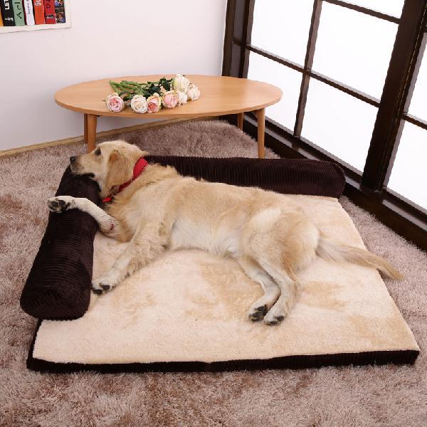 Luxury corduroy bolster pet dog sofa bed puppy fleece bed
