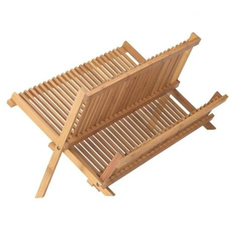Natural bamboo dish drying rack holder - 2 tier