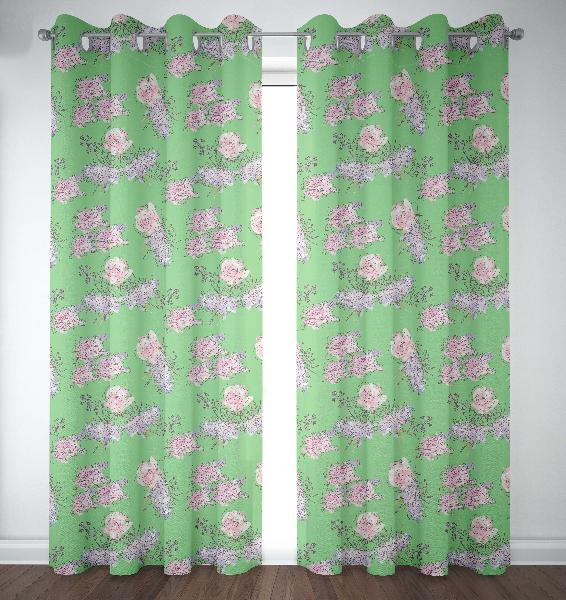 S4sassy mint green floral door curtain eyelet printed