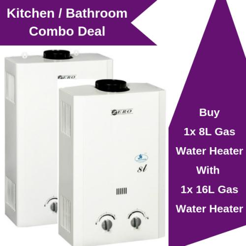 Zero appliances gas water heater combo 8l and 16l