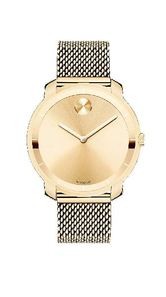 Movado women's bold thin yellow gold watch with a printed