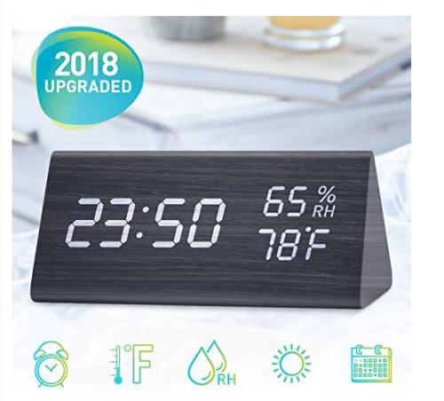 Wooden led digital alarm clock time temperature and