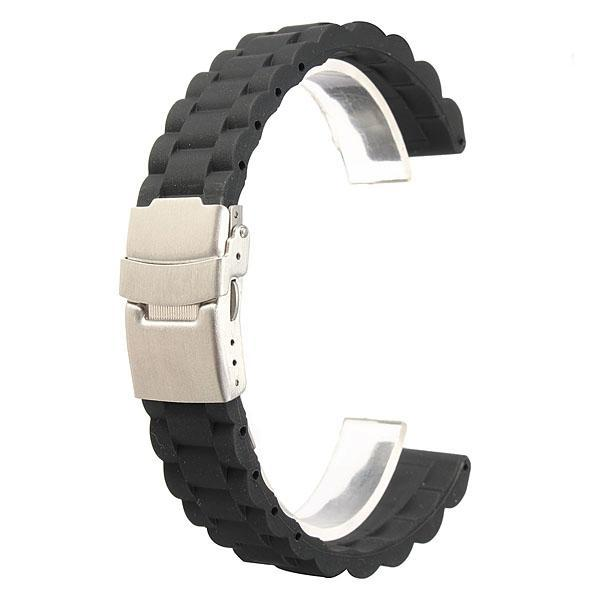 18/20/22mm black silicone sports watch band