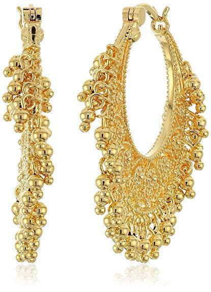 18k yellow gold plated bronze indian ethnic chand bali hoop