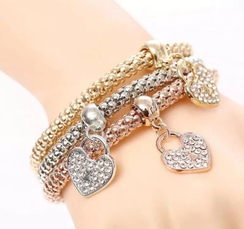 3 piece ladies fashion bracelet - silver, rose gold, gold