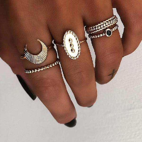 5 pcs bohemian finger rings set moon oval shield ring