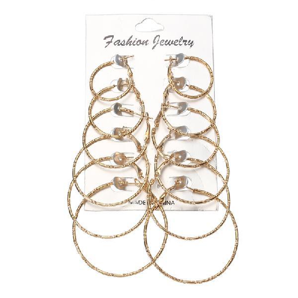 6 pairs fashion hoop earrings set gold silver stud earrings