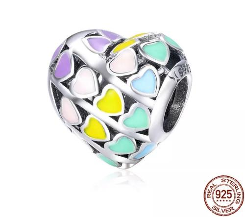 925 sterling silver rainbow heart charm