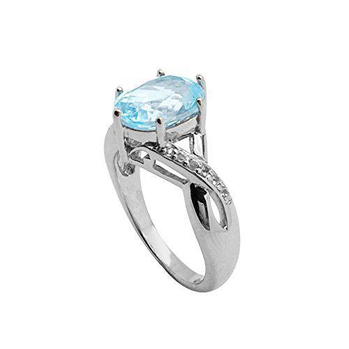 Belinda sparkling 8x10 sky blue topaz and diamonds in 925
