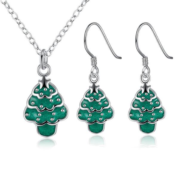 Christmas tree necklace enamel process earrings gift party