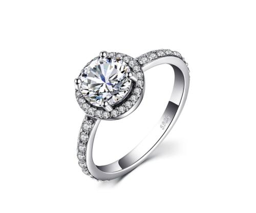Classic sterling silver cubic zirconia ring