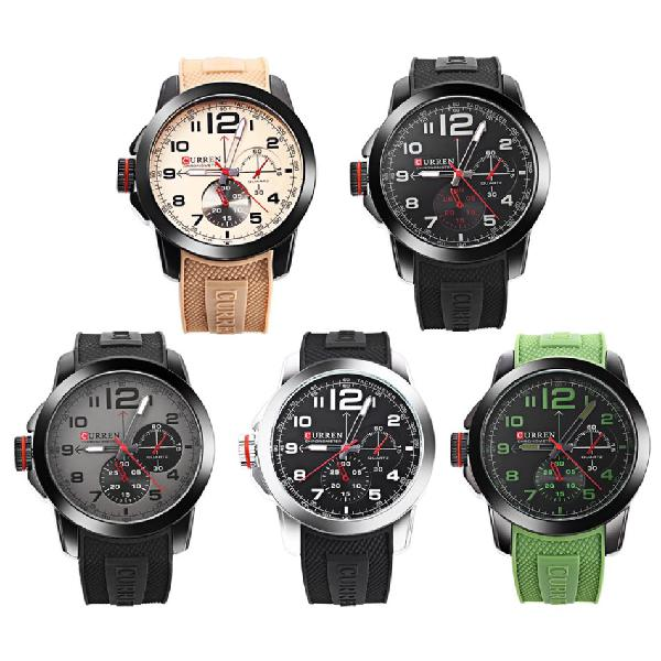 Curren 8182 male quartz watch decorative sub-dial silicone