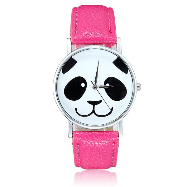 Fashion cute panda pattern pu leather band analog quartz
