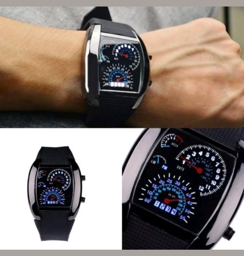 Fashion men's black stainless steel analog quartz led watch