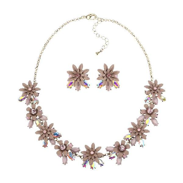 Jassy women elegant flower crystal jewelry set luxury 18k