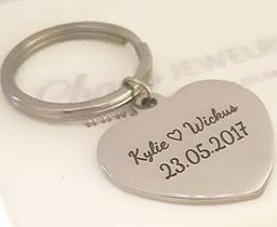 Kr34 - personalized message heart keyring dog tag, stainless