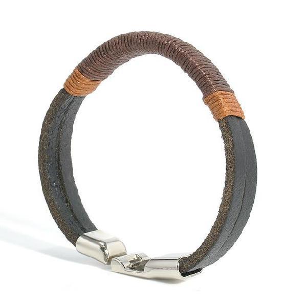 New surfer mens vintage hemp wrap leather wristband bracelet