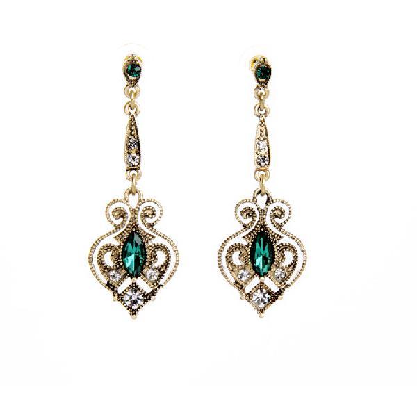 Retro peach heart elegant earring green gem ear drop for