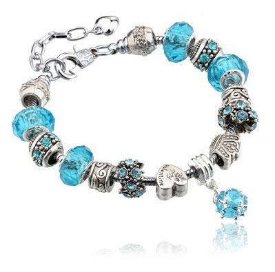 Silver charms bracelet - turquoise - turquoise